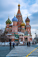 MOSCOW - CIRCA MARCH 2013: View of St. Basil's Cathedral in Moscow, circa 2013. With a population of more than 11 million people is one the largest cities in the world and a popular tourist destination.