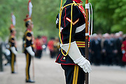 Troopers of The 9th/12th Royal Hussars stand on parade as officers, men and veterans march past in the Cavalry Memorial Parade. <br /> <br /> HRH Prince Andrew, Duke of York KG GCVO Colonel in Chief The 9th/12th Royal  Lancers took the salute today, Sunday 20th May 2012 at the Annual Parade &amp; Service of The Combined Cavalry Old Comrade Association, at the Cavalry Memorial, Hyde Park.<br /> 2012.<br /> Picture by Trooper Mark Larner, RY.