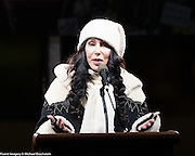 Cher speaking at an inauguration eve anti-Trump rally in New York City