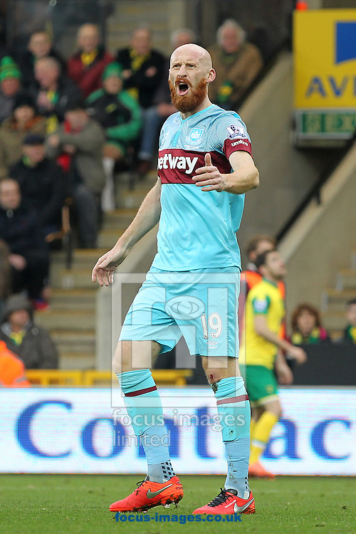 James Collins of West Ham during the Barclays Premier League match at Carrow Road, Norwich<br /> Picture by Paul Chesterton/Focus Images Ltd +44 7904 640267<br /> 13/02/2016