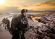 Cold water Divers in Iceland wearing full sub gear shot as a Environmental Portraiture on a PhaseOne IQ180