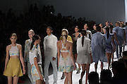 Models at the finale of the Richard Chai show at the Spring 2013 Mercedes Benz Fashion Week show in New York.