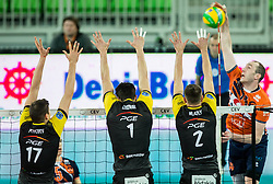 Nikolay Penchev of PGE Skra Belchatow, Srecko Lisinac of PGE Skra Belchatow, Mariusz Wlazly of PGE Skra Belchatow vs Ziga Stern of ACH during volleyball match between ACH Volley (SLO) and PGE Skra Belchatow (POL) in Round #4 of 2017 CEV Volleyball Champions League, on January 19, 2017 in Arena Stozice, Ljubljana, Slovenia. Photo by Vid Ponikvar / Sportida