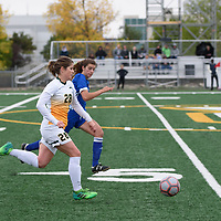 3rd year forward Sydney Langen (28) of the Regina Cougars during the Women's Soccer Homeopener on September 16 at U of R Field. Credit: Casey Marshall/Arthur Images