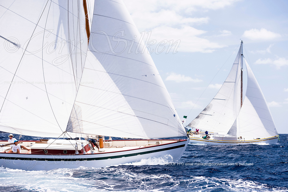 Genesis sailing in the Antigua Classic Yacht Regatta, Old Road Race.