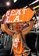 Oct. 29 2010; Phoenix, AZ, USA; Phoenix Suns fan holds up a Beat L.A. sign at the US Airways Center.   Mandatory Credit: Jennifer Stewart-US PRESSWIRE.