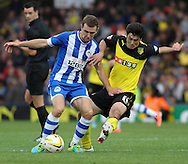 Picture by David Horn/Focus Images Ltd +44 7545 970036<br /> 28/09/2013<br /> Fernando Forestieri of Watford (right) and James McArthur of Wigan Athletic during the Sky Bet Championship match at Vicarage Road, Watford.