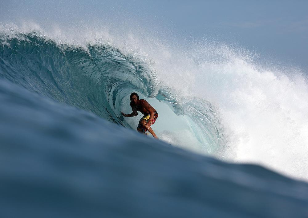 Surfing somewhere in Sumatra.