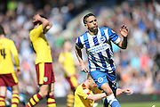 Brighton striker, Anthony Knockaert (27) scores to make it 2-1 to Brighton during the Sky Bet Championship match between Brighton and Hove Albion and Burnley at the American Express Community Stadium, Brighton and Hove, England on 2 April 2016.