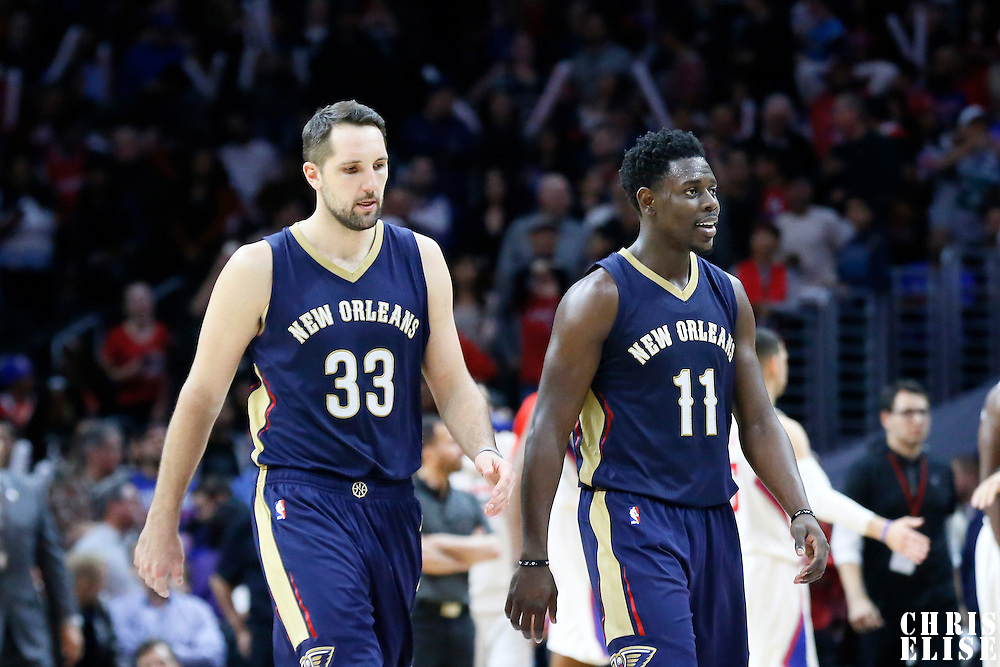 10 January 2016: Los Angeles Clippers forward Wesley Johnson (33) is seen next to New Orleans Pelicans guard Jrue Holiday (11) during the Los Angeles Clippers 114-111 overtime victory over the New Orleans Pelicans, at the Staples Center, Los Angeles, California, USA.