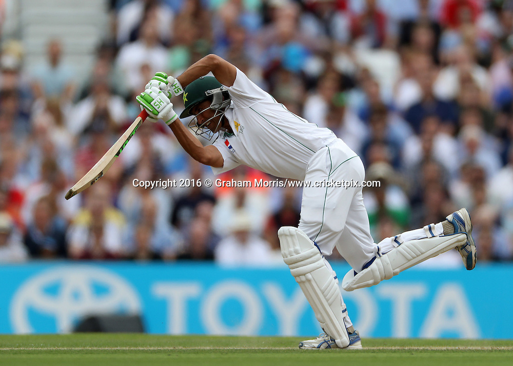 Younis Khan bats during his double century in the 4th Investec Test Match between England and Pakistan at the Kia Oval. Photo: Graham Morris/www.cricketpix.com (Tel:+44(0)20 8969 4192; Email: graham@cricketpix.com) 13/08/2016