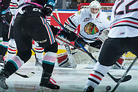 KELOWNA, CANADA - OCTOBER 21: Shane Farkas #1 of the Portland Winterhawks defends the net against the Kelowna Rockets on October 21, 2017 at Prospera Place in Kelowna, British Columbia, Canada.  (Photo by Marissa Baecker/Shoot the Breeze)  *** Local Caption ***