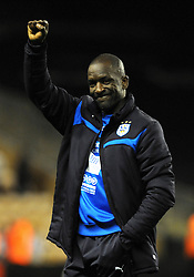 Huddersfield Town Manager, Chris Powell celebrates the 1 -  3 win over Wolverhampton Wanderers - Photo mandatory by-line: Dougie Allward/JMP - Mobile: 07966 386802 - 01/10/2014 - SPORT - Football - Wolverhampton - Molineux Stadium - Wolverhampton Wonderers v Huddersfield Town - Sky Bet Championship