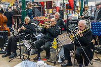 Jazz musicians playing at St George's Market, Belfast, N Ireland, UK, 16th November 2019, 201911161782<br />