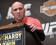 "NEW YORK, NEW YORK, MARCH 24, 2010: UFC president Dana White addresses the media during the pre-fight press conference for ""UFC 111: St. Pierre vs. Hardy"" inside Radio City Music Hall in New York City"