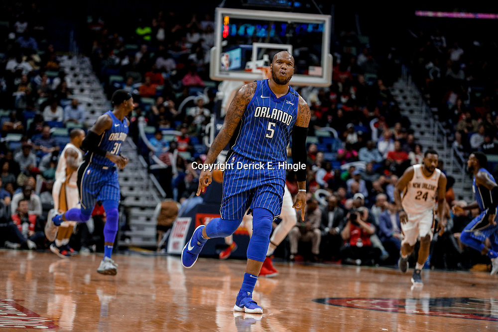 Oct 30, 2017; New Orleans, LA, USA; Orlando Magic forward Marreese Speights (5) reacts after hitting a three point basket during the fourth quarter of a game at the Smoothie King Center. The Magic defeated the Pelican 115-99. Mandatory Credit: Derick E. Hingle-USA TODAY Sports