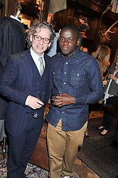 Left to right, DEXTER FLETCHER and DANIEL KALUUYA at a reception hosted by Ralph Lauren Double RL and Dexter Fletcher before a private screening of Wild Bill benefitting FilmAid held at RRL 16 Mount Street, London on 26th March 2012.