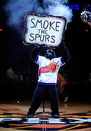 Nov. 3 2010; Phoenix, AZ, USA; Phoenix Suns gorilla holds up a sign during pregame ceremonies to a game against the San Antonio Spurs at the US Airways Center. Mandatory Credit: Jennifer Stewart-US PRESSWIRE.