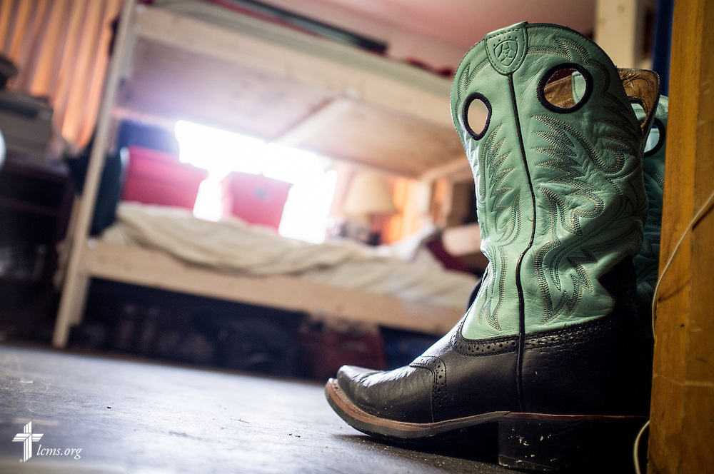 A pair of boots bookend a doorway in a room of bunk beds at Trinity Oaks, a ministry of Trinity Lutheran Church, Baton Rouge, La.,  on Tuesday, Sept. 13, 2016, in Baton Rouge. Trinity Oaks houses volunteers for the flood-cleanup efforts in the region.  LCMS Communications/Erik M. Lunsford