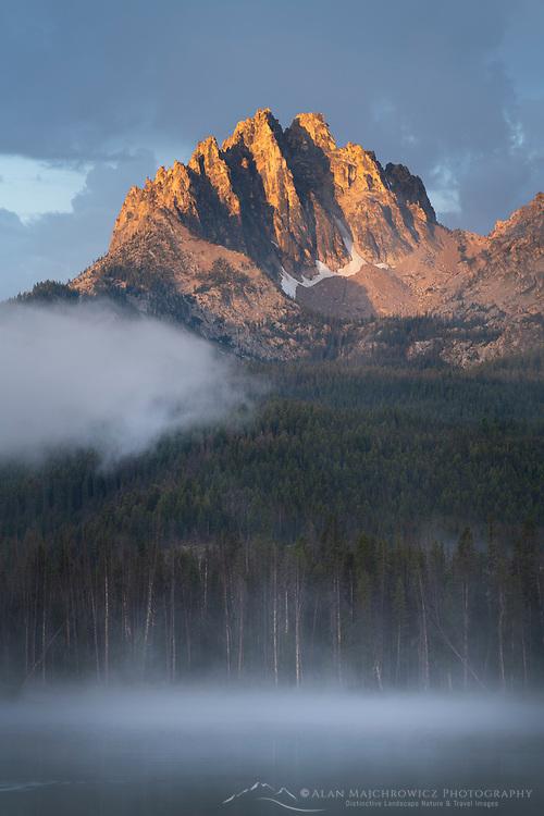 Morning fog around Mount Heyburn and Little Redfish Lake Sawtooth Mountains Idaho