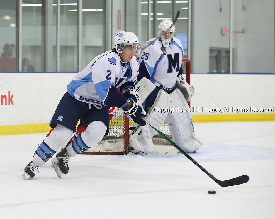 TORONTO, ON - Oct 4, 2015 : Ontario Junior Hockey League game action between St. Michael's and Toronto. <br /> Sam Hunter #2 of the St.Michael's Buzzers, skates with the puck during the second period.<br /> (Photo by Anna Matthews / OJHL Images)