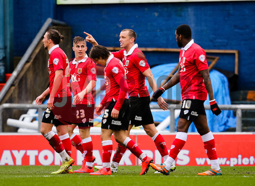 Bristol City's Aaron Wilbraham celebrates after scoring the opening goal - Photo mandatory by-line: Matt McNulty/JMP - Mobile: 07966 386802 - 03/04/2015 - SPORT - Football - Oldham - Boundary Park - Oldham Athletic v Bristol City - Sky Bet League One