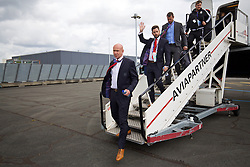 LILLE, FRANCE - Wednesday, June 15, 2016: Wales' head of pubic affairs Ian Gwyn Hughes and press officer Peter Barnes arrive in at Lille Lesquin International Airport as for their Group Stage MD 2 game of the UEFA Euro 2016 Championship against England. (Pic by David Rawcliffe/Propaganda)