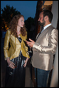 LILY COLE; EVGENY LEBEDEV, 2014 Serpentine's summer party sponsored by Brioni.with a pavilion designed this year by Chilean architect Smiljan Radic  Kensington Gdns. London. 1July 2014