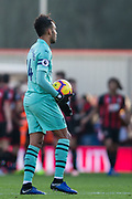 Pierre-Emerick Aubameyang (Arsenal) with the ball awaiting the start following AFC Bournemouth FC goal from Joshua King (Bournemouth) during the Premier League match between Bournemouth and Arsenal at the Vitality Stadium, Bournemouth, England on 25 November 2018.