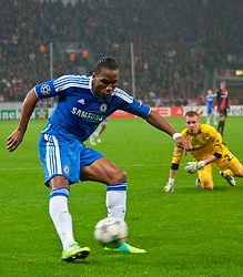 23.11.2011, BayArena, Leverkusen, Germany, UEFA CL, Gruppe E, Bayer 04 Leverkusen (GER) vs Chelsea FC (ENG), im Bild Chelsea's Didier Drogba rounds Bayer Leverkusen's goalkeeper Berndt Leno but fails to score during the football match of UEFA Champions league, group E, between Bayer Leverkusen (GER) and FC Chelsea (ENG) at BayArena, Leverkusen, Germany on 2011/11/23. EXPA Pictures © 2011, PhotoCredit: EXPA/ Sportida/ David Tickle..***** ATTENTION - OUT OF ENG, GBR, UK *****