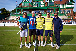 LIVERPOOL, ENGLAND - Saturday, June 23, 2018: Tournament director Anders Borg with Alessandro Giannessi (ITA) Robert Kendrick (USA) Ken Skupski (GBR) and Neal Skupski (GBR) during day three of the Williams BMW Liverpool International Tennis Tournament 2018 at Aigburth Cricket Club. (Pic by Paul Greenwood/Propaganda)