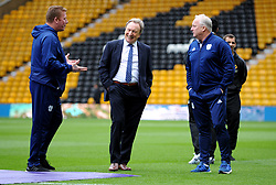 Cardiff City manager Neil Warnock laughs with coaching staff prior to kick-off - Mandatory by-line: Nizaam Jones/JMP - 02/03/2019 - FOOTBALL - Molineux - Wolverhampton, England -  Wolverhampton Wanderers v Cardiff City - Premier League