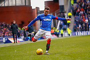 Rangers Captain James Tavernier (C) during the Ladbrokes Scottish Premiership match between Rangers and Kilmarnock at Ibrox, Glasgow, Scotland on 16 March 2019.