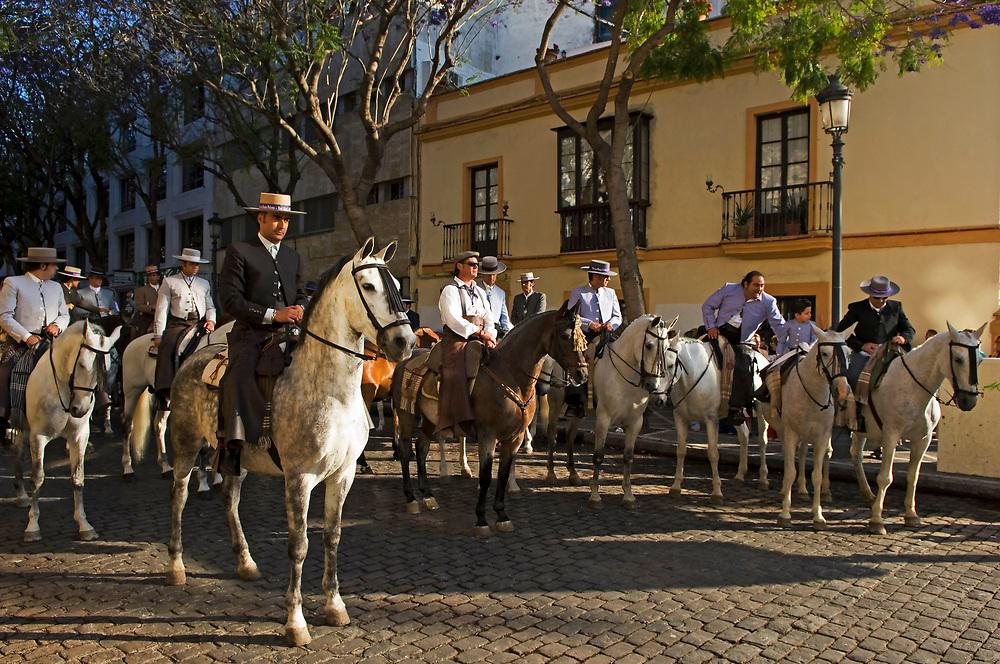 SPAIN: Andalucia. Jerez de la Frontera.<br /> Festival of the Virgin of El Rocio. Every May Equestrians gather beneath the lilac Jacaranda blossoms of Jerez, to escort the Virgin and its procession.