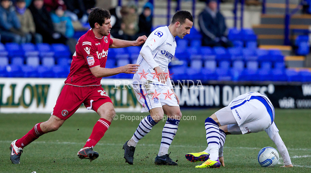 BIRKENHEAD, ENGLAND - Saturday, February 18, 2012: Tranmere Rovers' Robbie Weir in action against Charlton Athletic during the Football League One match at Prenton Park. (Pic by Vegard Grott/Propaganda)