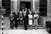 14/06/1963.06/14/1963.14 June 1963.Presentation of Admission Parchments at Solicitors Building of the Four Courts Dublin. Mr. Francis Lanigan, President of the Incorporated Law Society (centre) with some of the new solicitors at the presentation of Admission Parchments in Dublin.