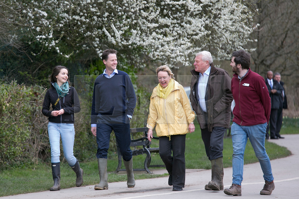 © Licensed to London News Pictures. 30/3/2015. Solihull, West Midlands, UK. Deputy Prime Minister Nick Clegg pictured on a visit to The Parkridge Centre, Brueton Park, Solihull. Nick Clegg met Warwickshire Wildlife Trust volunteers alongside Lorely Burt the Solihull M.P.  Photo credit : Dave Warren/LNP