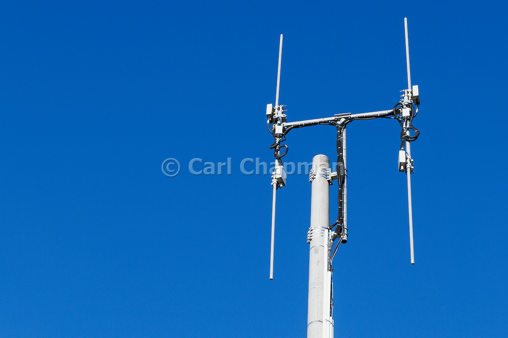 Omni directional rural cell base station antennas on a monopole tower for the mobile telephone system at Cann River, Victoria.