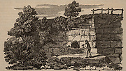 Entrance to Kirdkale Cave, about 25 miles from York, England. Discovered in 1821 when men quarrying in a bank came across the choked-up entrance. From 'The Saturday Magazine' (London, February 1833). Mud covering of the floor was full of bone fragments from tiger, bear, elephant, rhinoceros, etc. which appeared to have be gnawed (by hyenas, it was thought). William Buckland (1784-1856) English geologist and clergyman, examined the remains and concluded that these animals had disappeared from Britain due to some catastrophe, such as the  Biblical Flood.