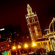 Giralda Tower and Plaza Lights in Kansas City at nightfall.
