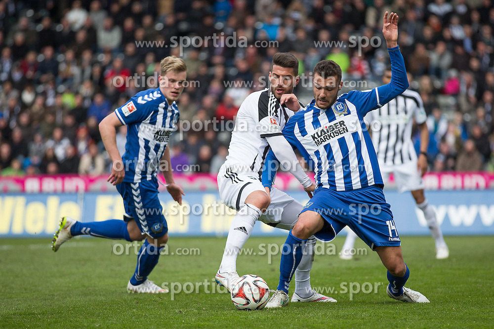 05.04.2015, Scholz Arena, Aalen, GER, 2. FBL, VfR Aalen vs Karlsruher SC, 27. Runde, im Bild Juergen Gjasula ( VFR Aalen) gegen Manuel Gulde ( Karlsruher SC ) // during the 2nd German Bundesliga 27th round match between VfR Aalen and Karlsruher SC at the Scholz Arena in Aalen, Germany on 2015/04/05. EXPA Pictures &copy; 2015, PhotoCredit: EXPA/ Eibner-Pressefoto/ Bozler<br /> <br /> *****ATTENTION - OUT of GER*****