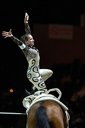 Corinna Knauf, (GER), Fabiola W, Alexandra Knauf - Individuals Women Freestyle Vaulting - Alltech FEI World Equestrian Games™ 2014 - Normandy, France.<br /> © Hippo Foto Team - Jon Stroud<br /> 03/09/2014