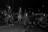Police in riot gear at night in South Elmsall, 1984-85 Miners Strike.