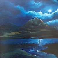 Hollister Peak watches over Baywood under a moody full moon.<br />