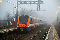 © Licensed to London News Pictures. 06/02/2020. London, UK. An overground train travels through dense fog in north London. Photo credit: Dinendra Haria/LNP