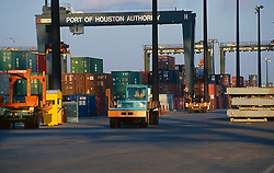 Transport vehicles at the Port of Houston