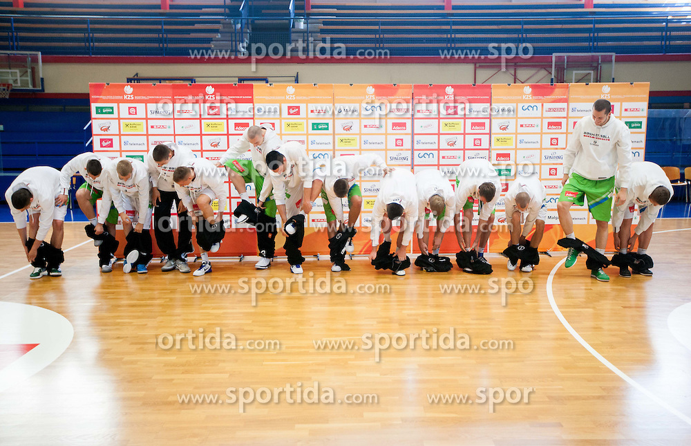 U20 team with new jerseys  during Open day of Slovenian U20 National basketball team before the European Chmpionship in Slovenia, on July 9, 2012 in Domzale, Slovenia.  (Photo by Vid Ponikvar / Sportida.com)