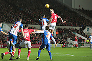 Bristol City defender Aden Flint and Blackburn Rovers midfielder Hope Akpan during the Sky Bet Championship match between Bristol City and Blackburn Rovers at Ashton Gate, Bristol, England on 5 December 2015. Photo by Jemma Phillips.