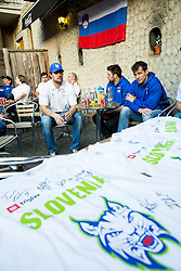 Anze Kopitar of Slovenia, Ziga Pance of Slovenia and Ales Kranjc of Slovenia of Slovenian Ice Hockey National Team at meeting with their supporters at day off during 2015 IIHF World Championship, on May 9, 2015 in Restaurant Zadni Vratka, Stodolni Street, Ostrava, Czech Republic. Photo by Vid Ponikvar / Sportida