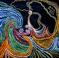Abstract wavy sea like image in dark pink, light pink, white, pink, purple, lilac, yellow, brownish, orange and blue tones with a human like figure with curls and bended lines on black enamel background, with nuances.